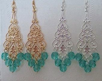 Bridesmaids Earrings Aquamarine Malibu Blue Green Chandelier Dangle Filigree Teardrops Choice Gold Silver Wedding Jewelry Bridal Jewelry