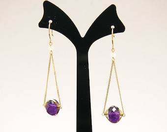 1pair(je-0200) -sterling silver earrings with natural amethyst and moonstone