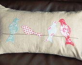 Birds on a Wire Applique Cushion / Pillow Cover