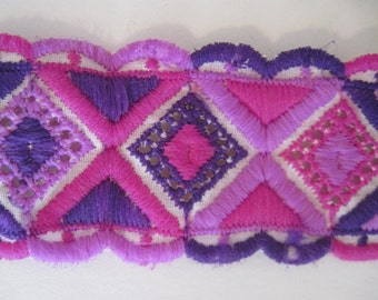 4 yards of vintage MOD Trim - Hot Pink & Purple diamond pattern, OP ART, geometric, graphic, 70s, fabric, notions, sewing projects