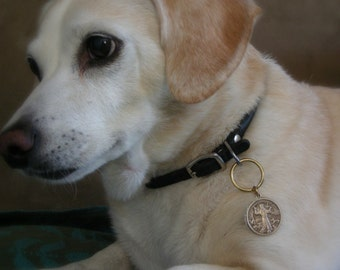 Dog ID Tag - Guardian Angel - Vintage Brass Dog Tag - Handmade for your Best Friend