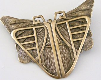 Vintage Brooch - Art Deco Brooch  - Butterfly Jewelry - Statement Jewelry - Vintage Brass Jewelry - handmade jewelry