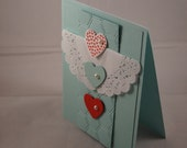 Heart & Doily Handmade stampin up love card with pearls
