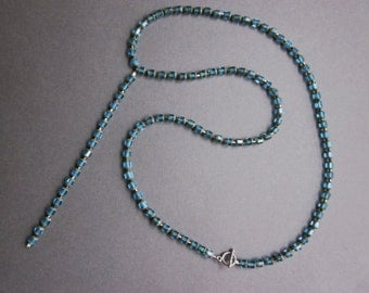 red aqua cathedral beads on silver wire - the bryn necklace