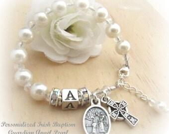 Personalized Irish Baby Baptism Guardian Angel Rosary Bracelet