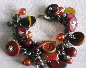 repurposed red & brown buttons~vintage buttons~chunky charm bracelet~mixed media~statement jewelry
