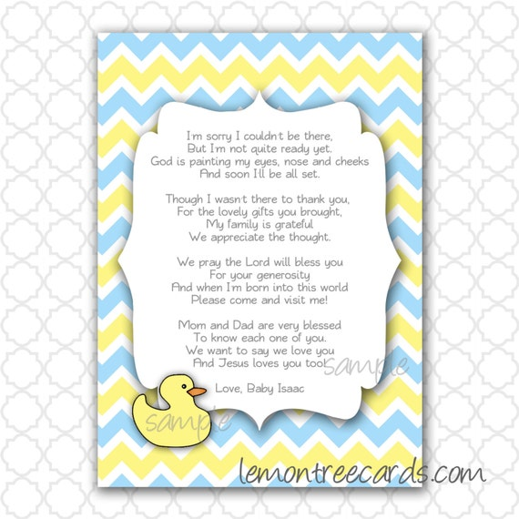 Items Similar To Duck Baby Shower Thank You Note With Poem