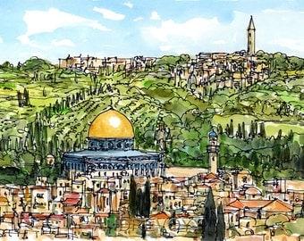 Jerusalem Israel art print from an original watercolor painting