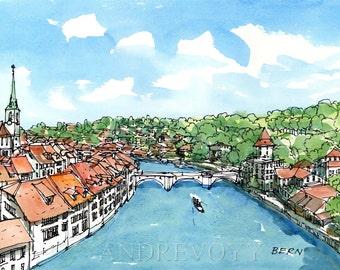 Bern Switzerland art print from an original watercolor painting