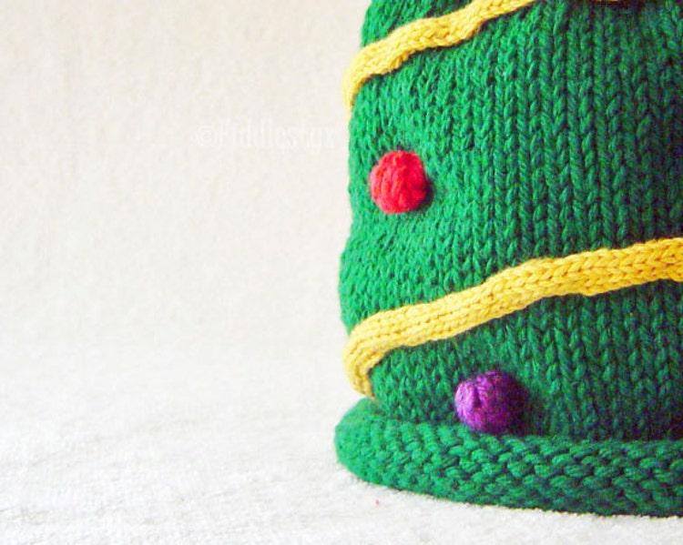 Knitting Pattern Christmas Tree Hat Pattern By