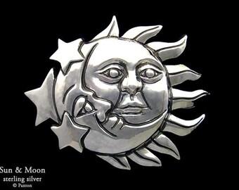 Sun & Moon Belt Buckle Sterling Silver or Yellow Brass