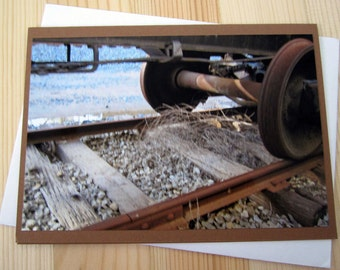At The Trainyard Blank Greeting Card Photography