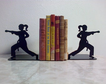 Karate Girl Martial Arts Taekwondo Metal Bookends