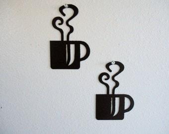 Coffee Mug Wall Art Duo Metal Wall Decoration