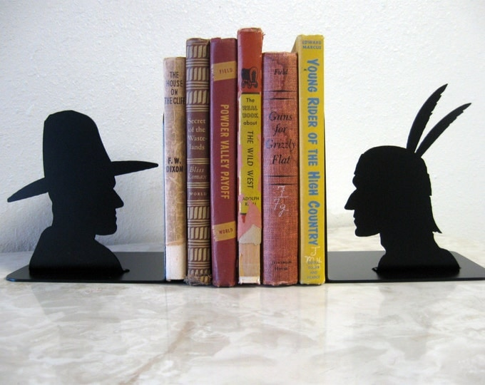 Cowboy and Indian Metal Art Bookends