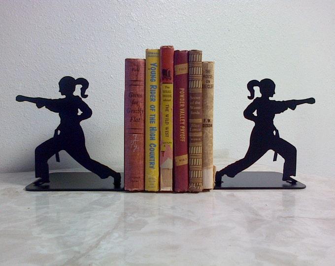 Karate Girl Martial Arts Taekwondo Metal Art Bookends