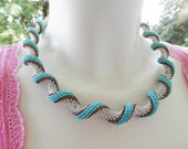SALE Cream turquoise curly Spiral Necklace indespiral