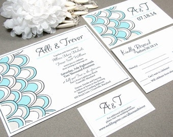 Petals Scalloped Wedding Invitation Set - RunkPock Designs,  Beach Wedding Invitation, Summer Wedding, Blue and Tan, Destination Wedding