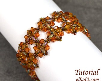 Tutorial Shimmering Fall bracelet - Beading Pattern PDF