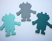 24 x Robot Die Cuts - Turquoise and Grey