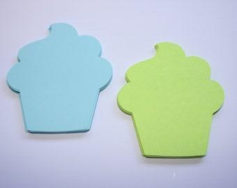 18 x Cupcake  Die Cuts - Blue and Green