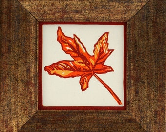 FRAMED Autumn Leaf Linocut Hand Pulled ORIGINAL Print MINIATURE (Ready To Ship)