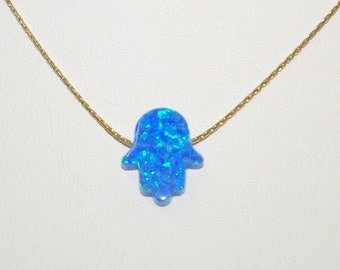 13x11mm Dark Blue OPAL HAMSA Fatima Hand Symbol Charm Pendant with 14kt Gold Filled Fine 0.6mm Chain NECKLACE. Free Shipping.