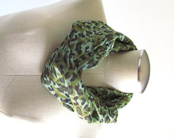 Green Leopard Scarf - Leopard Infinity Scarf - Green Scarf - SALE