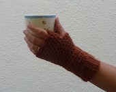 SALE...FINGERLESS mitts , 'Autumn Leaves' ( a Merino wool  blend) Ladies, small. UK seller...ready to ship...