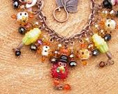 Thanksgiving Bracelet, Artisan Handcrafted Lampwork Pilgrims Pumpkins Corn Turkey Jewelry, Autumn Jewelry, Thanksgiving Jewelry OOAK #1