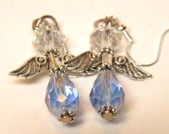 Angel Earrings, Sterling Silver and Sky Blue Swarovski Crystals, Fairy Earrings, Fairy Jewelry, Christmas Earrings, Angel Jewelry, Christmas