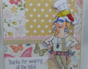 Thank You for Wearing all the Hats - Blank NoteCard, Greetings Card, Handmade Card