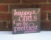 Audrey Hepburn Happy Girls  Shabby Wood Block  Office Studio Dorm Nursery - TurquoiseWoodWorks