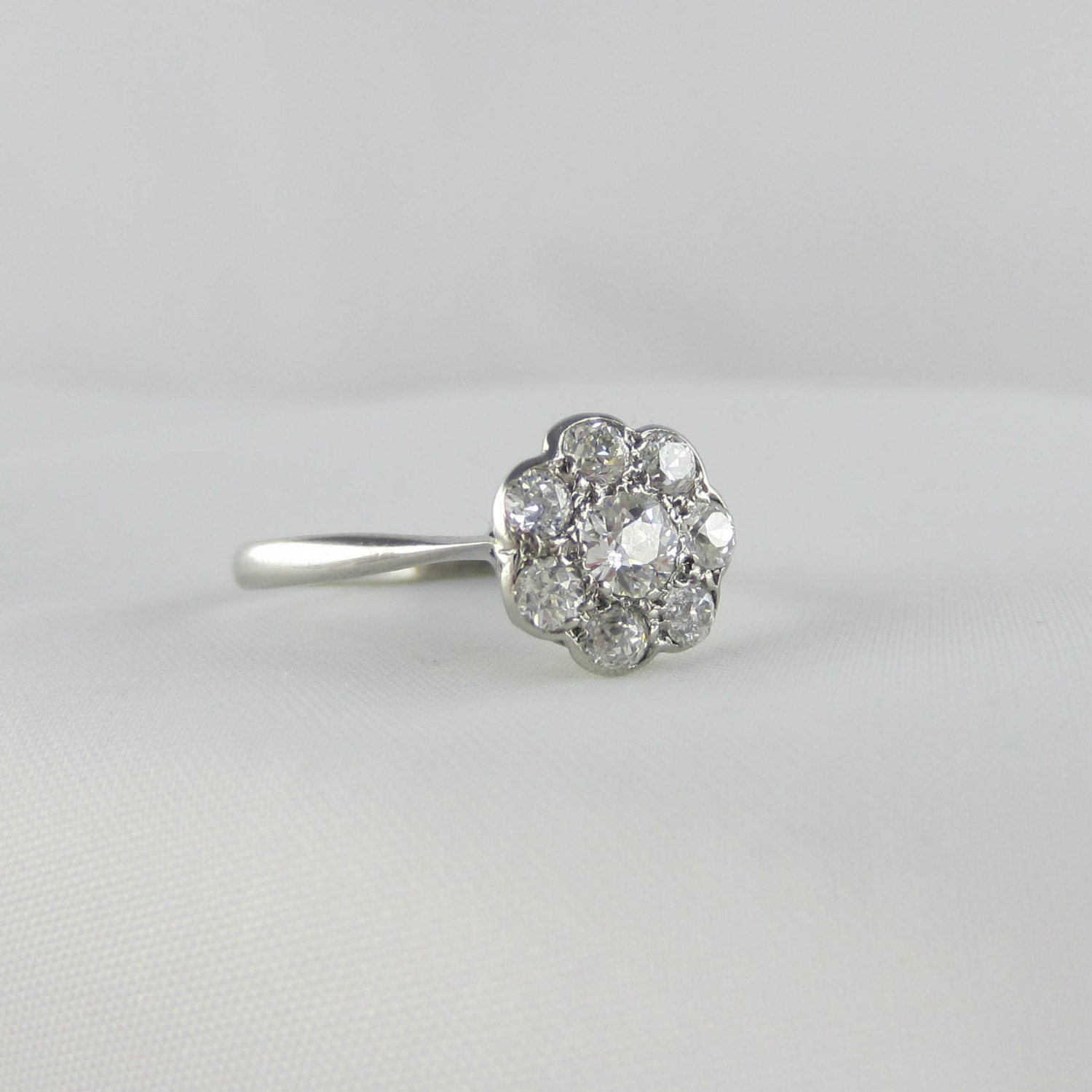 Art Deco Diamond Daisy Engagement Ring Flower Shape By Addy