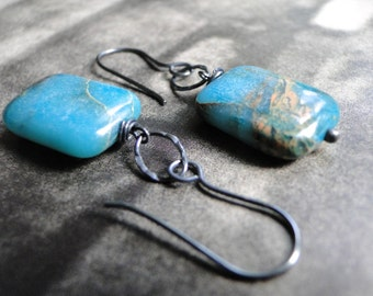 SALE Southwest Turquoise Drop Earrings, Gift for Her, Boho Chic, Accessories, Sterling Silver, Gift Box