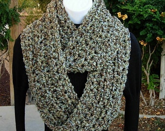 INFINITY SCARF Loop Cowl, Dark Taupe Brown, Tan, Light Green & Blue, Soft Winter Crochet Knit Circle, Neck Warmer..Ready to Ship in 2 Days