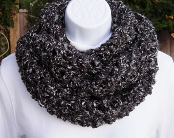 COWL SCARF Infinity Loop Black, Dark & Light Grey Gray Tweed Soft Long Crochet Knit Winter Bulky Chunky Circle Wrap..Ready to Ship in 2 Days