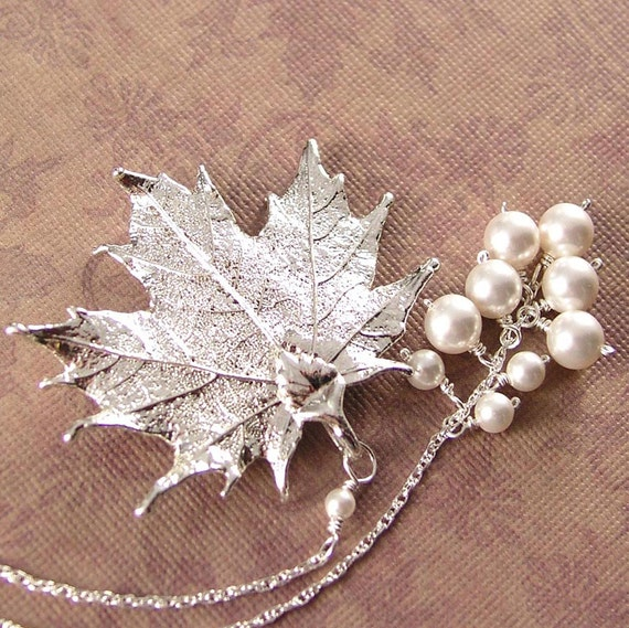Maple Leaf Necklace Silver Leaf Necklace Sterling Silver White Pearl Necklace Real Maple Leaf Pendant Necklace