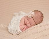 Ruffle Stretch Fabric Wrap Cream Newborn Photography Prop Posing Swaddle