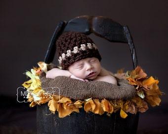 Brown Beige Striped Newborn Baby Hat Photography Prop