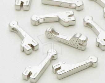 PD-573-MS / 4 Pcs - Mini Giraffe Charms(Bead Type), Matte Silver Plated over Brass / 5mm x 14mm