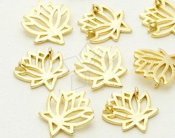 PD-615-GD / 4 Pcs - Tiny Flower Sideways Pendant, Flower Necklace Pendant, Gold Plated over Brass / 11mm x 12mm