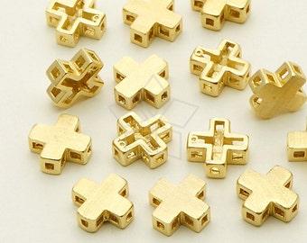 AC-526-GD / 4 Pcs - Mini Cross Bead, Matte Gold Plated over Brass / 7.5mm x 7.5mm
