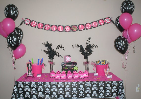 Items similar to Pirate Princess Happy Birthday Banner