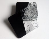 COASTERS - Set of 4 Fused Glass Balck and Speckled Black, White and Grey Coasters.