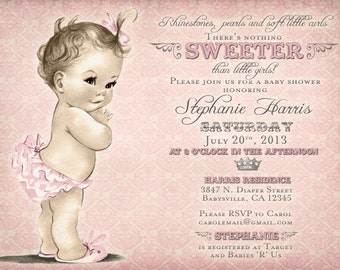 Vintage Baby Shower Invitation For Girl - Antique - Pink - FREE SHIPPING or DIY Printable