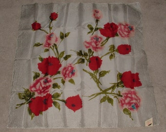 NWT 1950's Scarf - Roses - Red, Pink, White , Gray