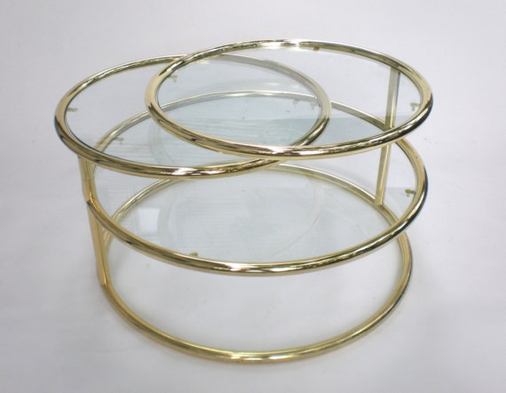 Brass and Glass Swivel Coffee Table