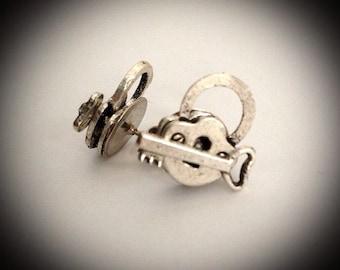 Under Lock And Key - Pad Lock And Skeleton Key Stud Earrings