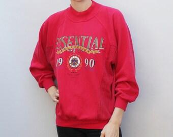 1990 vintage printed sweatshirt, red, black stripes, graphic print, large